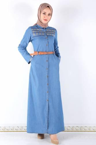 Tesettür Dünyası - Nakışlı Kemerli Kot Elbise TSD8021 Açık