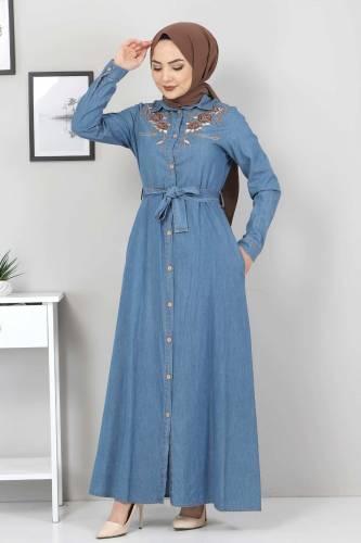Tesettür Dünyası - Nakışlı Kot Elbise TSD0355 Açık Mavi