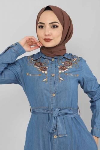 Tesettür Dünyası - Nakışlı Kot Elbise TSD0355 Açık Mavi (1)