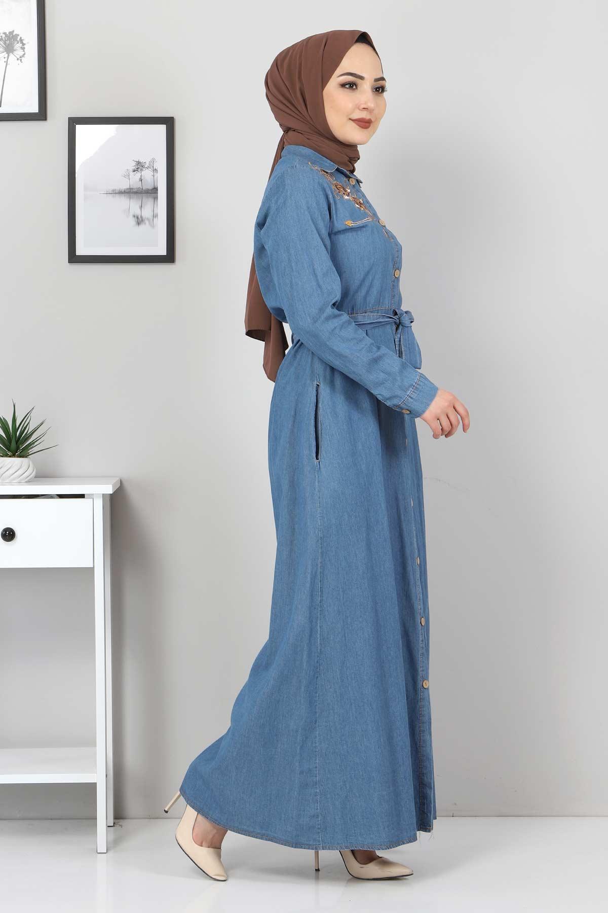 Nakışlı Kot Elbise TSD0355 Açık Mavi
