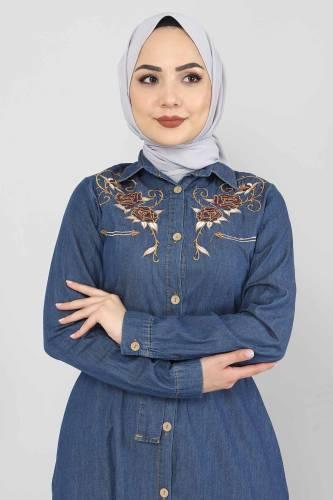 Tesettür Dünyası - Embroidered Jeans Dress TSD0355 Dark Blue (1)