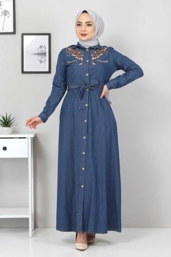 Tesettür Dünyası - Embroidered Jeans Dress TSD0355 Dark Blue