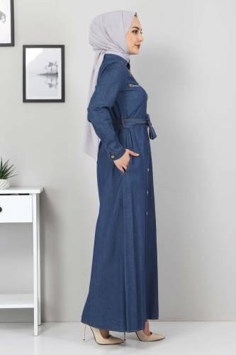 Nakışlı Kot Elbise TSD0355 Koyu Mavi - Thumbnail