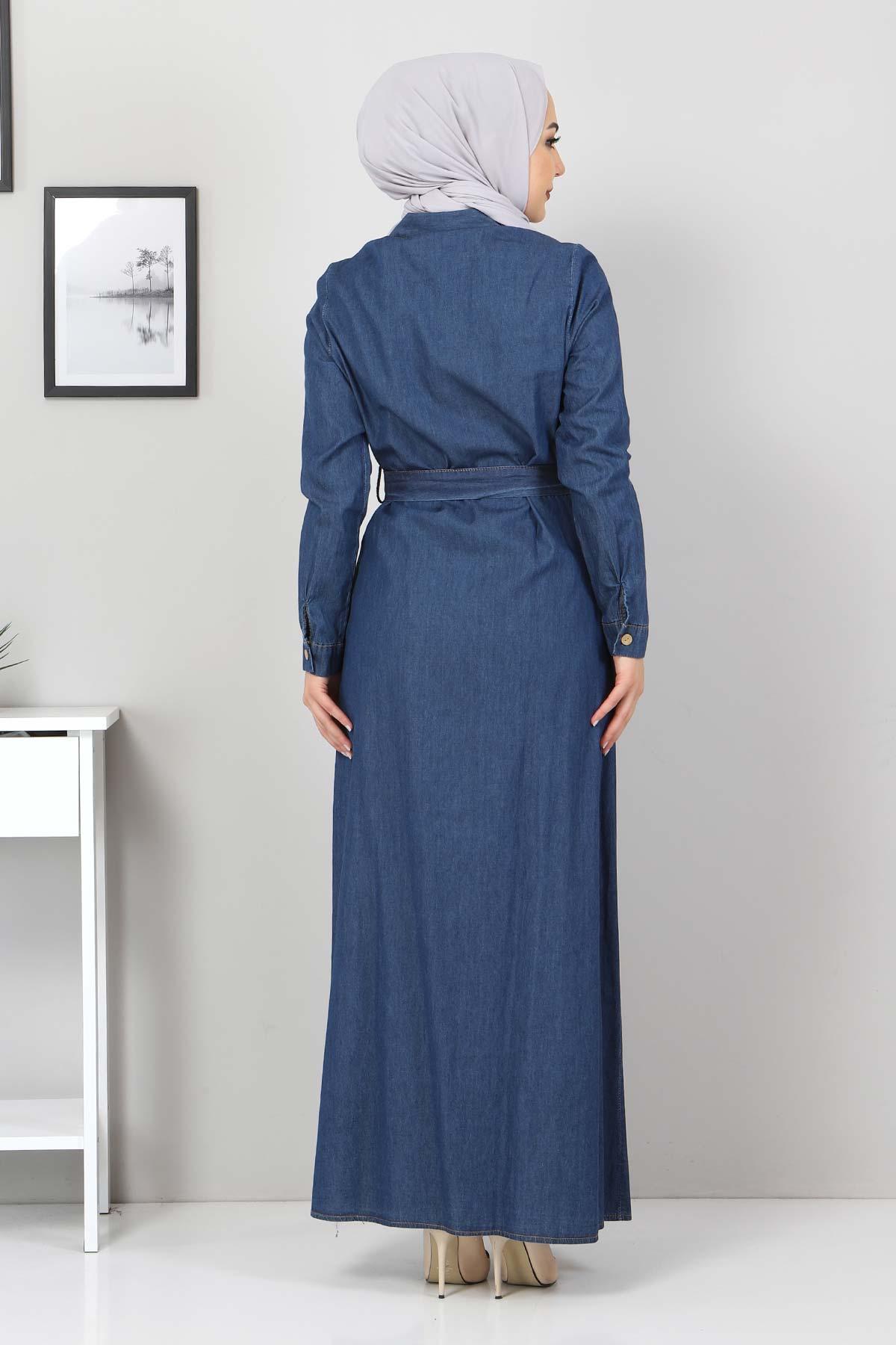 Nakışlı Kot Elbise TSD0355 Koyu Mavi