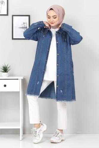 Tesettür Dünyası - Nervürlü Eteği Püsküllü Kot Ceket TSD07508 Koyu Mavi