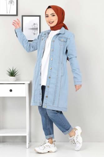 Tesettür Dünyası - Nervürlü Kot Ceket TSD22038 Açık Mavi