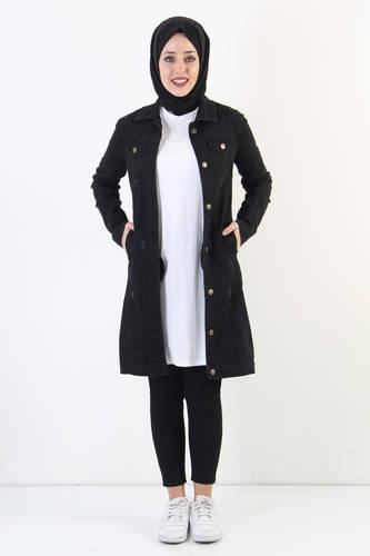 Nervürlü Kot Ceket TSD7505 Siyah - Thumbnail