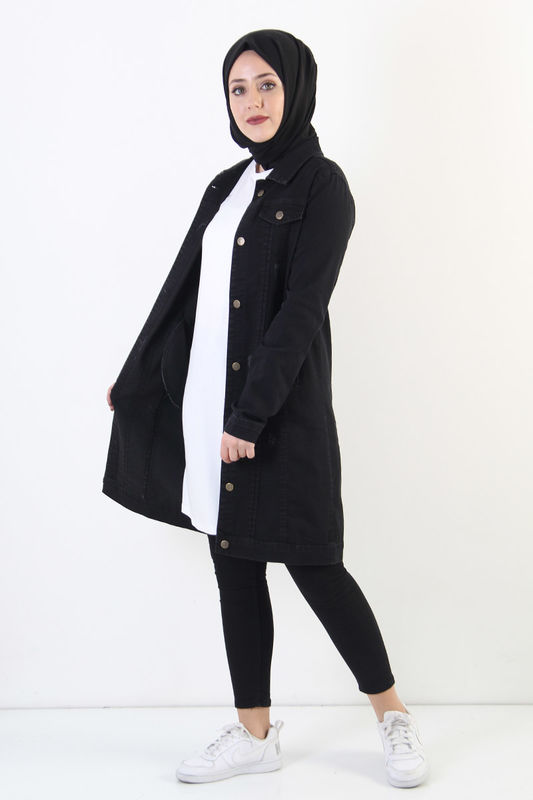 Nervürlü Kot Ceket TSD7505 Siyah
