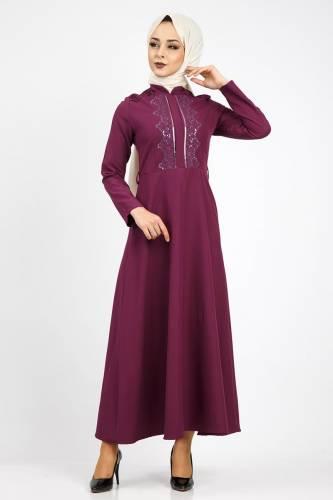 Tesettür Dünyası - Nervürlü Nakış İşlemeli Elbise TSD0519 Mor