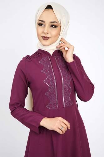 Tesettür Dünyası - Nervürlü Nakış İşlemeli Elbise TSD0519 Mor (1)