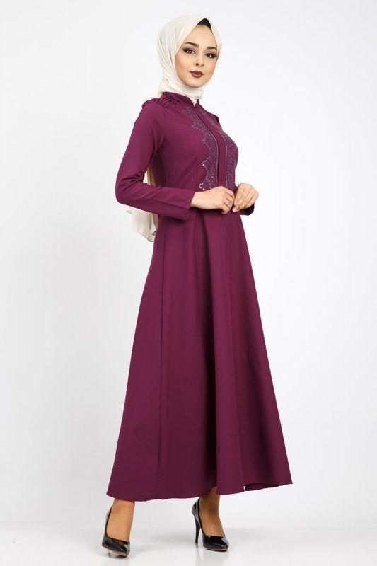 Nervürlü Nakış İşlemeli Elbise TSD0519 Mor