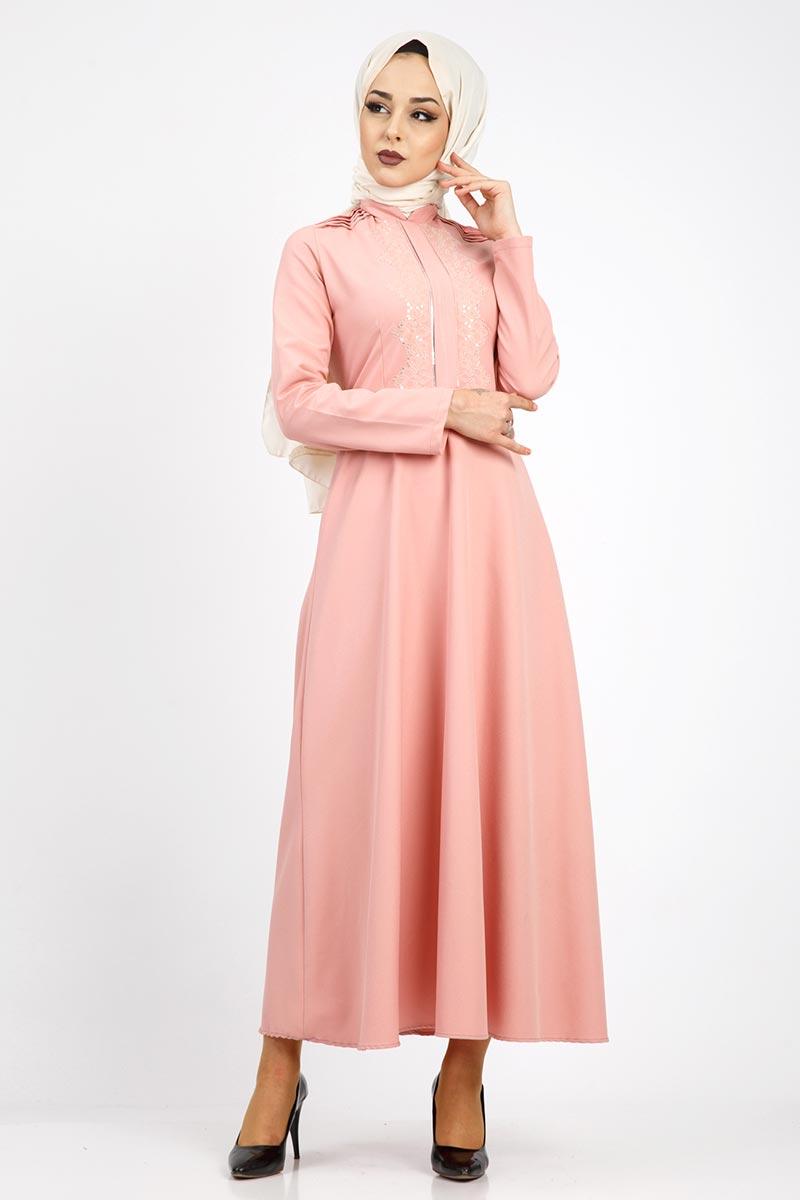 Nervürlü Nakış İşlemeli Elbise TSD0519 Pudra