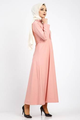 Nervürlü Nakış İşlemeli Elbise TSD0519 Pudra - Thumbnail