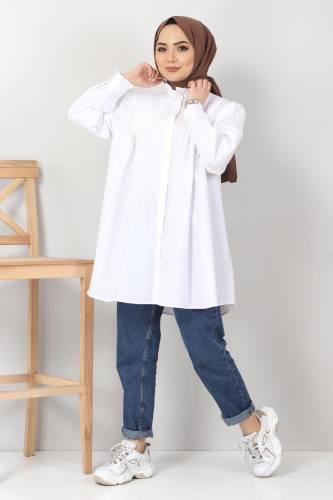 Tesettür Dünyası - Nervürlü Tunik TSD10903 Beyaz