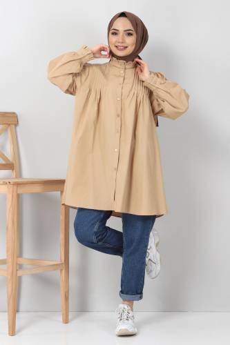 Tesettür Dünyası - Nervürlü Tunik TSD10903 Camel (1)