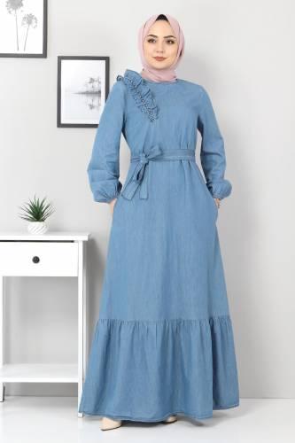 Tesettür Dünyası - Omuzu İnci Detaylı Kot Elbise TSD4124 Açık Mavi