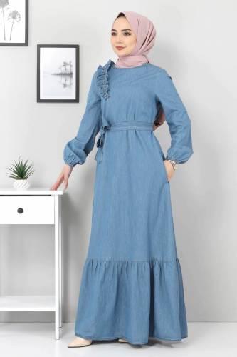Tesettür Dünyası - Omuzu İnci Detaylı Kot Elbise TSD4124 Açık Mavi (1)