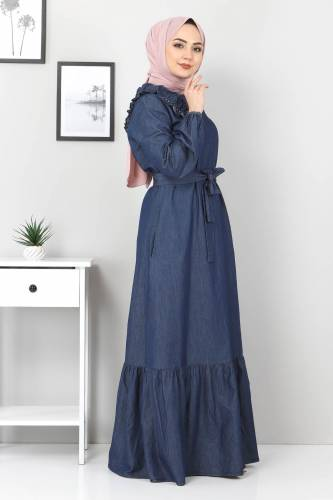 Omuzu İnci Detaylı Kot Elbise TSD4124 Koyu Mavi - Thumbnail