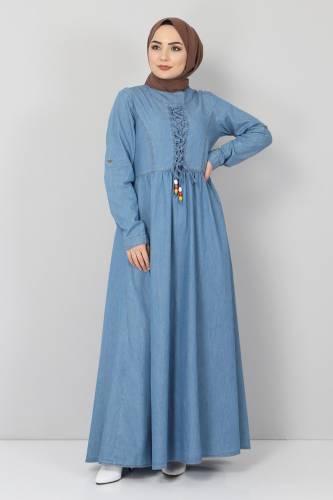 Tesettür Dünyası - Önü Bağcıklı Tesettür Kot Elbise TSD06139 Açık Mavi