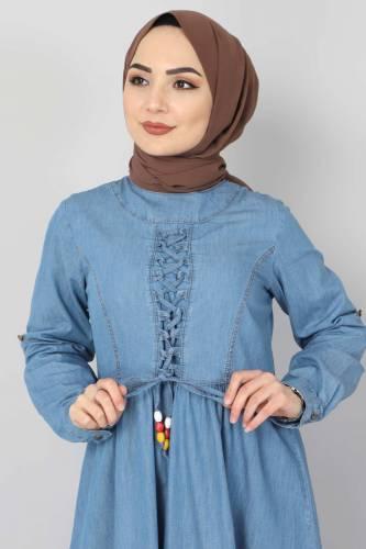 Tesettür Dünyası - Önü Bağcıklı Tesettür Kot Elbise TSD06139 Açık Mavi (1)