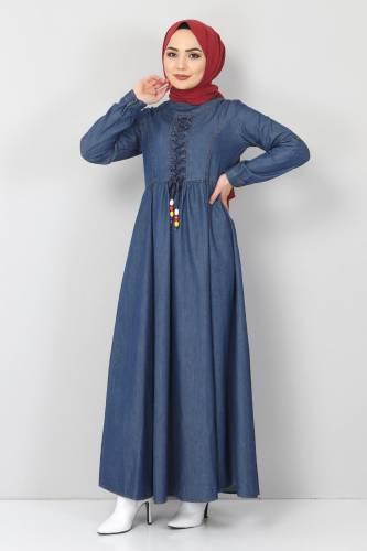 Tesettür Dünyası - Önü Bağcıklı Tesettür Kot Elbise TSD06139 Koyu Mavi