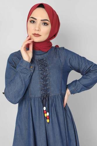 Tesettür Dünyası - Önü Bağcıklı Tesettür Kot Elbise TSD06139 Koyu Mavi (1)