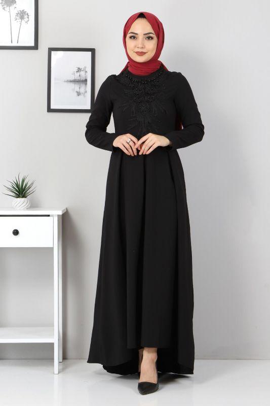 Önü Boncuk Detaylı Elbise TSD5141 Siyah