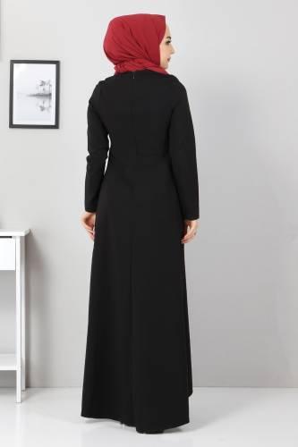 Önü Boncuk Detaylı Elbise TSD5141 Siyah - Thumbnail