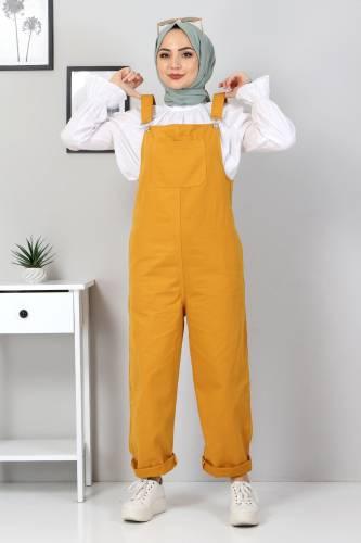 Tesettür Dünyası - Front Pocket Overalls TSD7008 Dark Yellow