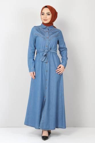 Tesettür Dünyası - Önü Dantelli Kot Elbise TSD0129 Açık Mavi (1)