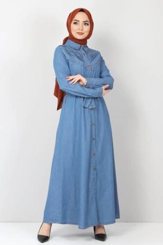 Tesettür Dünyası - Önü Dantelli Kot Elbise TSD0129 Açık Mavi