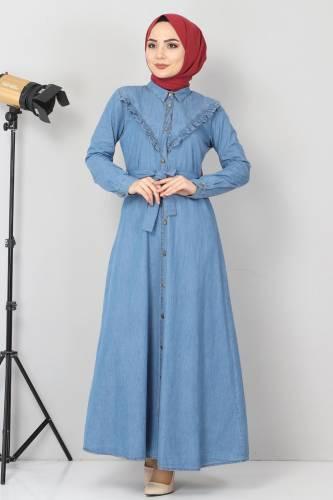 Tesettür Dünyası - Önü Fırfır Detaylı Kot Elbise TSD0221 Açık Mavi