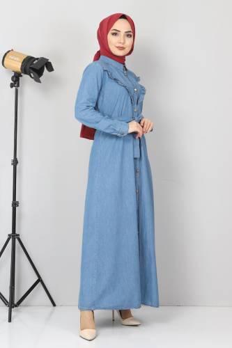 Tesettür Dünyası - Önü Fırfır Detaylı Kot Elbise TSD0221 Açık Mavi (1)