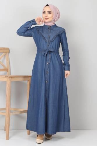 Tesettür Dünyası - Önü Fırfır Detaylı Kot Elbise TSD0221 Koyu Mavi