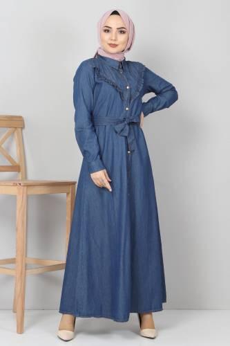 Tesettür Dünyası - Önü Fırfır Detaylı Kot Elbise TSD0221 Koyu Mavi (1)