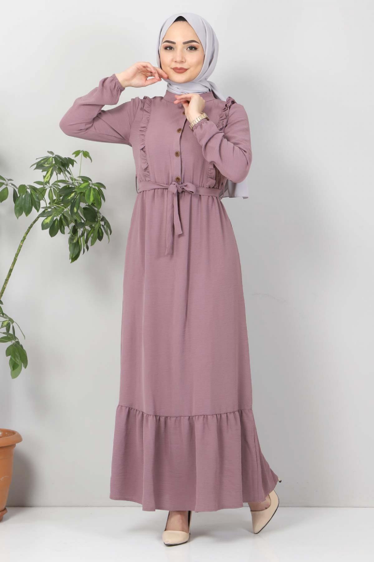 Önü Fırfırlı Ayrobin Elbise TSD11011 Açık Mor
