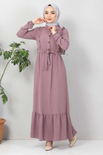 Önü Fırfırlı Ayrobin Elbise TSD11011 Açık Mor - Thumbnail