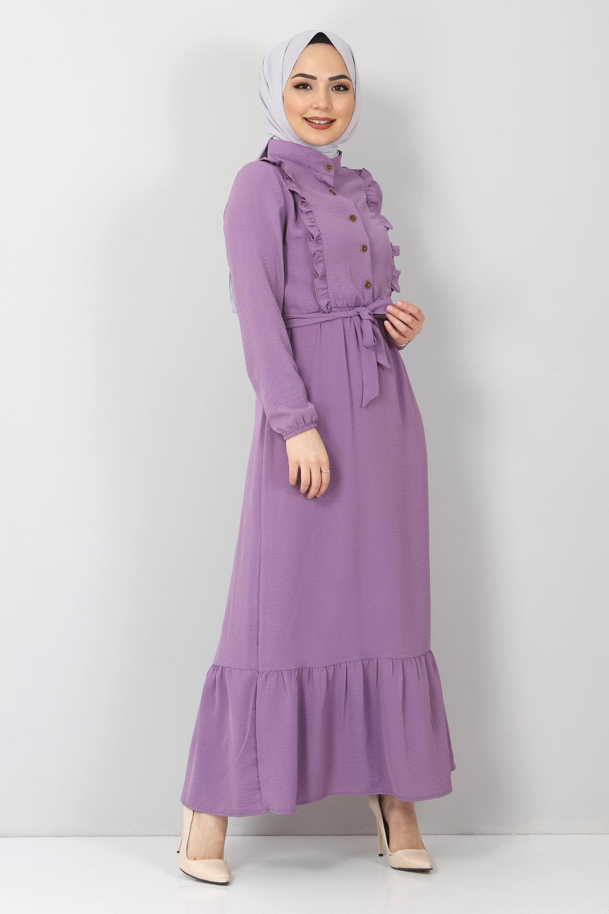 Önü Fırfırlı Ayrobin Elbise TSD11011 Lila