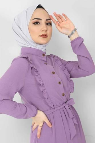 Önü Fırfırlı Ayrobin Elbise TSD11011 Lila - Thumbnail