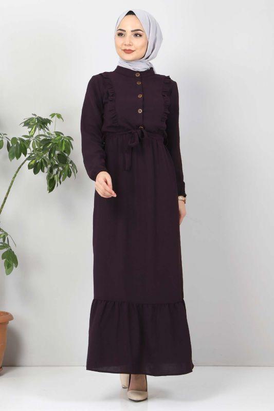 Önü Fırfırlı Ayrobin Elbise TSD11011 Mürdüm