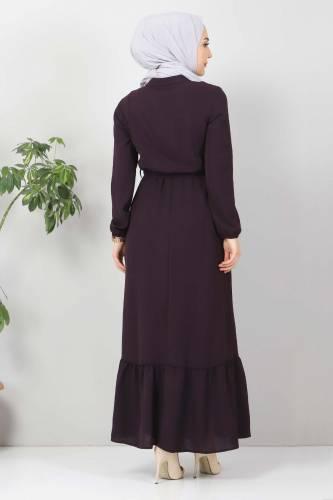 Önü Fırfırlı Ayrobin Elbise TSD11011 Mürdüm - Thumbnail
