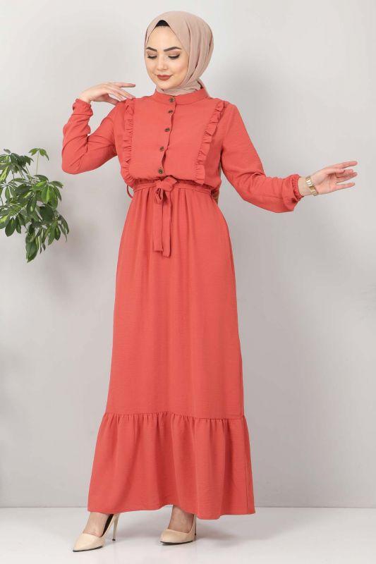 Önü Fırfırlı Ayrobin Elbise TSD11011 Nar Çiçeği