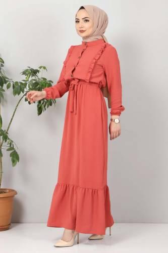 Önü Fırfırlı Ayrobin Elbise TSD11011 Nar Çiçeği - Thumbnail