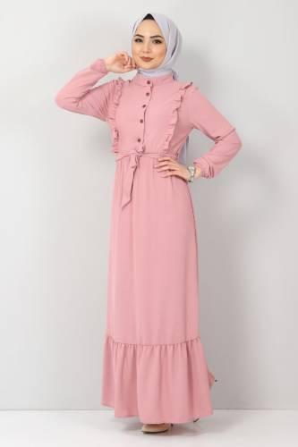 Tesettür Dünyası - Önü Fırfırlı Ayrobin Elbise TSD11011 Pembe