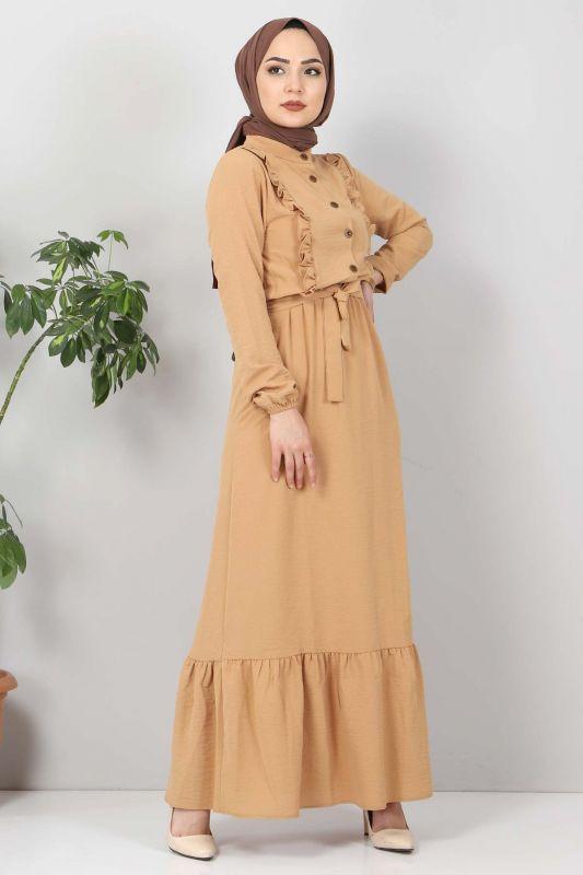 Önü Fırfırlı Ayrobin Elbise TSD11011 Tarçın