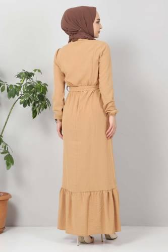 Önü Fırfırlı Ayrobin Elbise TSD11011 Tarçın - Thumbnail