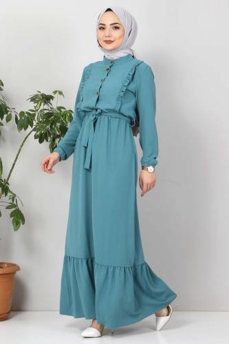 Önü Fırfırlı Ayrobin Elbise TSD11011 Turkuaz - Thumbnail