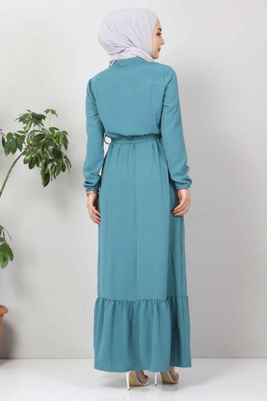 Önü Fırfırlı Ayrobin Elbise TSD11011 Turkuaz