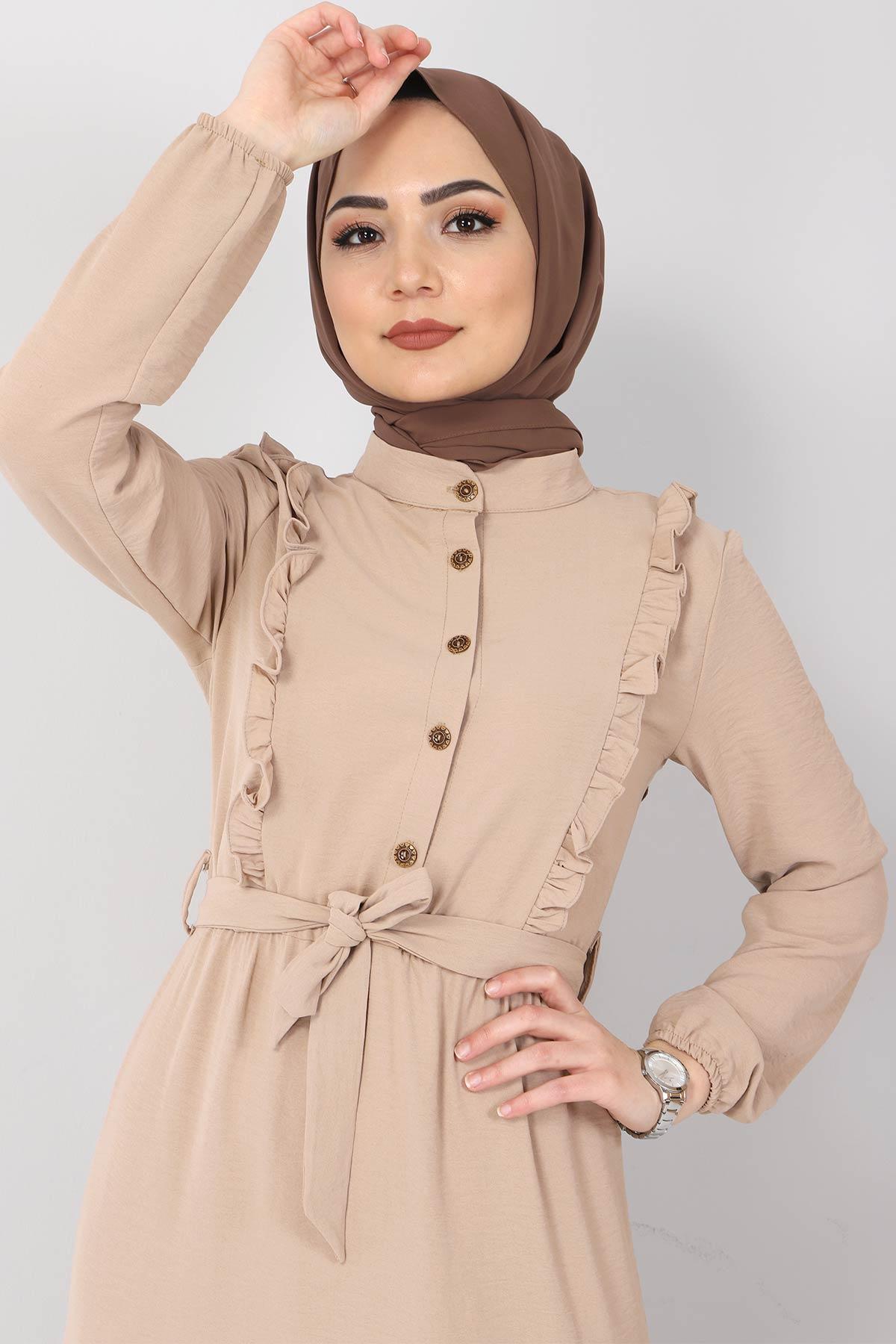 Önü Fırfırlı Ayrobin Elbise TSD11011 Bej