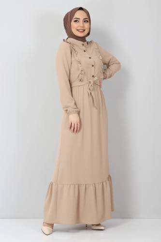 Önü Fırfırlı Ayrobin Elbise TSD11011 Bej - Thumbnail